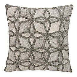 Mina Victory Couture Natural Hide Twinkle Square Throw Pillow in Grey
