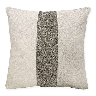 Mina Victory Couture Natural Hide Stripe Square Throw Pillow