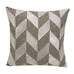 Mina Victory Couture Shimmer Chevron Square Throw Pillow in Grey