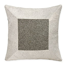 Mina Victory Couture Cube Natural Hide Square Throw Pillow in Grey