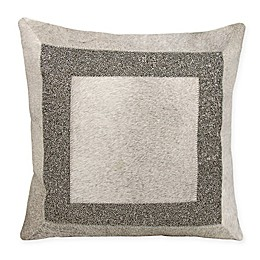 Mina Victory Couture Natural Hide Brilliant Frame Square Throw Pillow in Grey