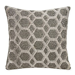 Mina Victory Couture Natural Hide Gleaming Diamonds Beaded Square Throw Pillow in Grey