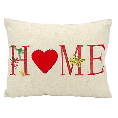 """Mina Victory Holiday """"Home"""" Oblong Throw Pillow"""