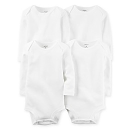 carter's® 4-Pack White Long Sleeve Bodysuits