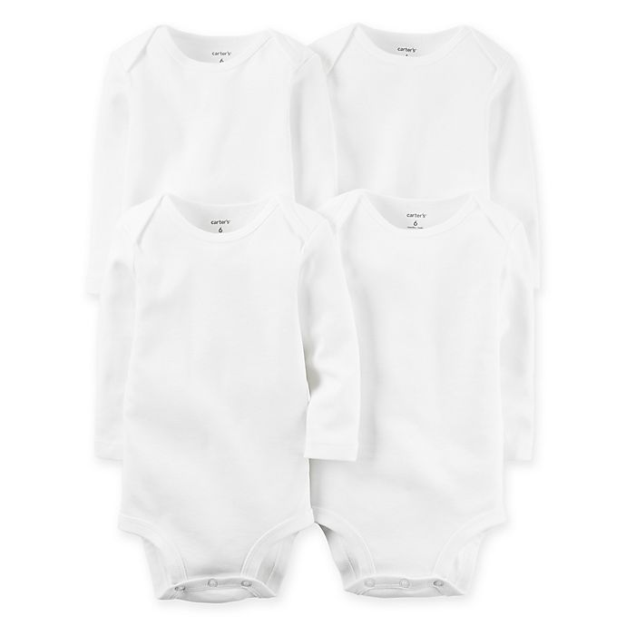 Alternate image 1 for carter's® 4-Pack White Long Sleeve Bodysuits