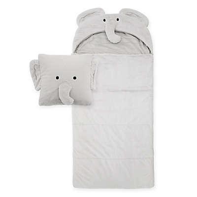 Décor Innovation Youth Faux Fur Elephant Hood Sleeping Bag in Grey