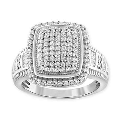 Sterling Silver 1.0 cttw Diamond Ladies' Square Cocktail Ring