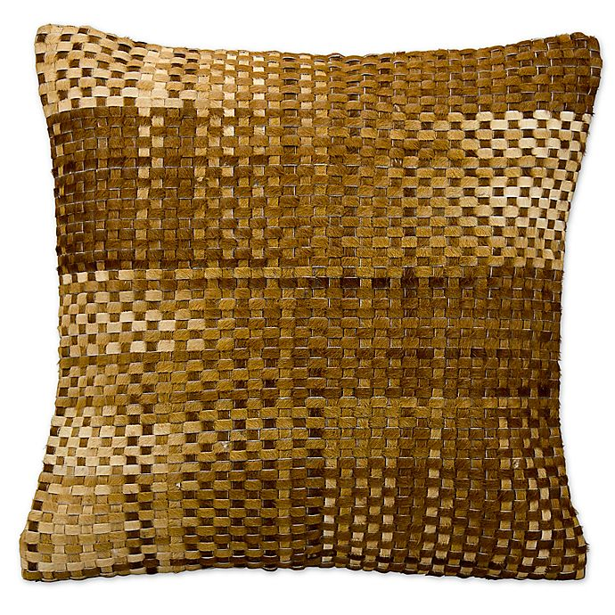 Alternate image 1 for Mina Victory Natural Leather Hide Basket Weave Square Throw Pillow Collection