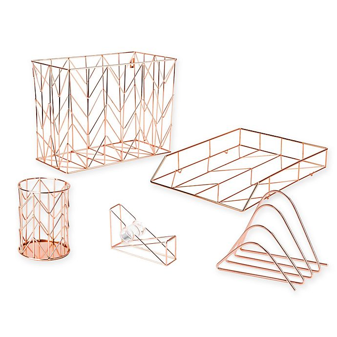 Alternate image 1 for Copper Wire Desk Accessory Collection