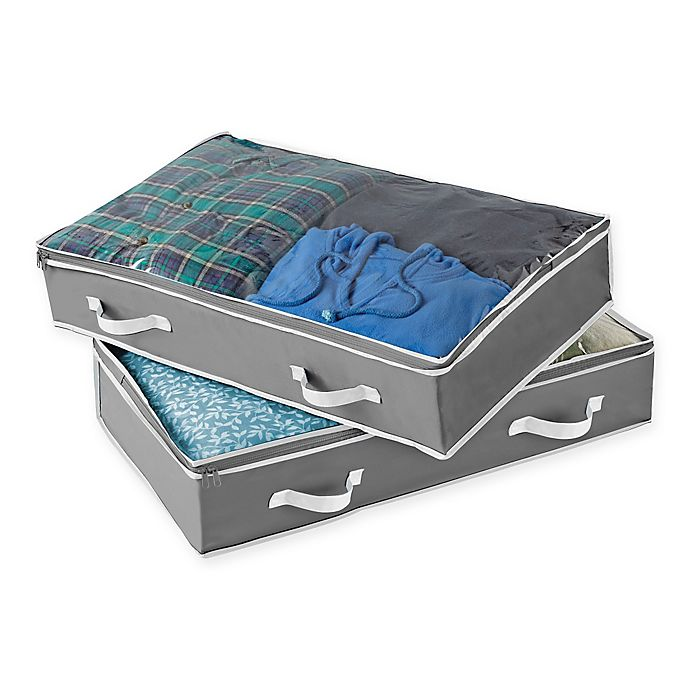Alternate image 1 for Studio 3B™ Underbed Storage Bag in Grey (Set of 2)
