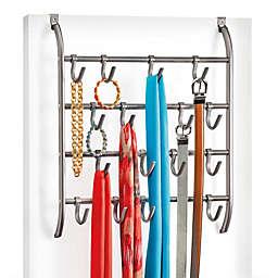 Over-the-Door Hanging 16 Hook Rack Accessory Organizer in Platinum