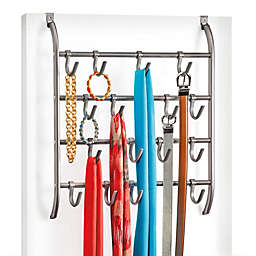 Over-the-Door Hanging 16 Hook Rack Accessory Organizer in Platinum