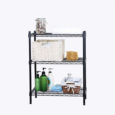 3 Tier Wire Shelving Unit in Black