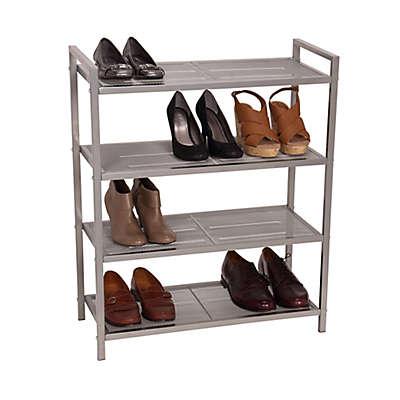 Household Essentials® 4-Tier Mesh Shoe Rack in Nickel