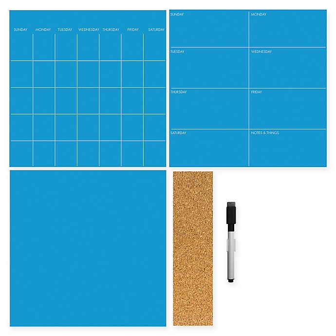 Alternate image 1 for WallPops!® Dry-Erase 3-Piece Calendar/Weekly Planner/Message Board Set in Neon Pacific Blue