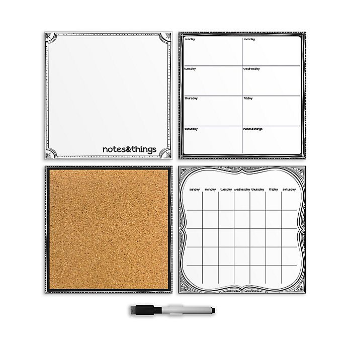 Alternate image 1 for WallPops!® Dry-Erase Calendar/Weekly Planner/Notes Board/Cork Board Organizer Set in White