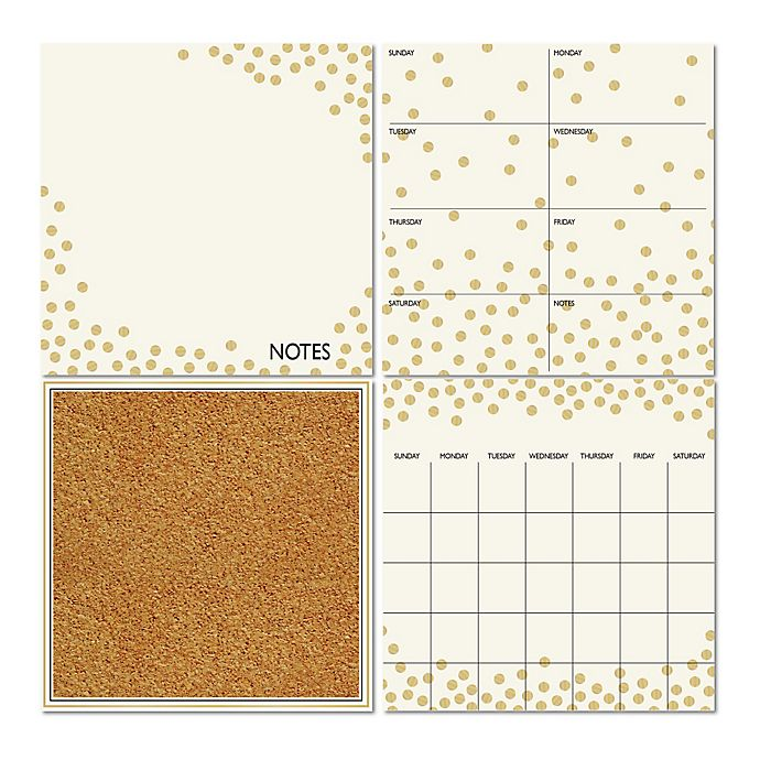 Alternate image 1 for WallPops!® Dry-Erase Calendar/Weekly Planner/Notes Board/Cork Board Set in White/Gold Confetti