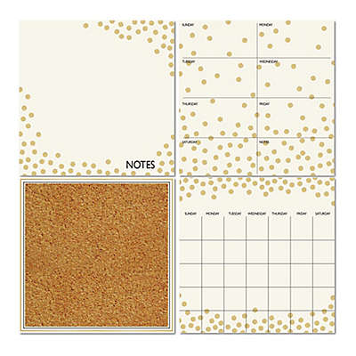 WallPops!® Dry-Erase Calendar/Weekly Planner/Notes Board/Cork Board Set in White/Gold Confetti