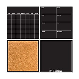 WallPops!® Dry-Erase 4-Piece Calendar/Weekly Planner/Notes Board/Cork Board Set in Black