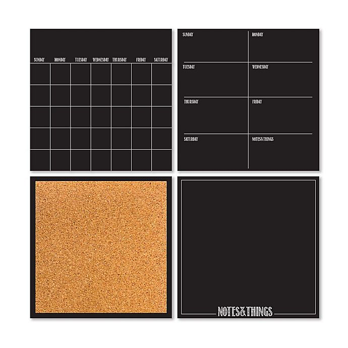 Alternate image 1 for WallPops!® Dry-Erase 4-Piece Calendar/Weekly Planner/Notes Board/Cork Board Set in Black