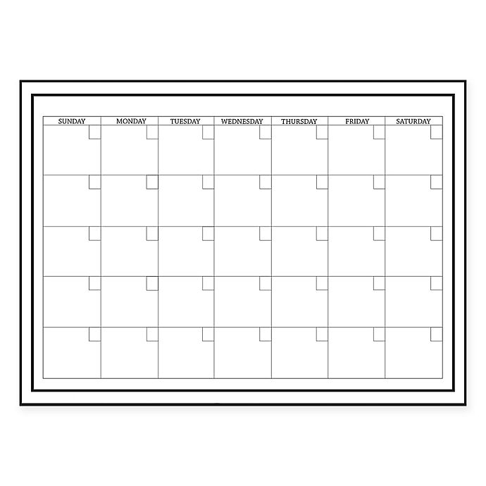 Alternate image 1 for WallPops!® Dry-Erase Monthly Calendar in White with Dry-Erase Marker
