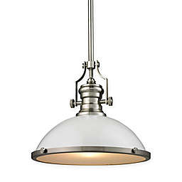 Elk Lighting 13-Inch Pendant in Satin Nickel with Gloss White Glass Shade