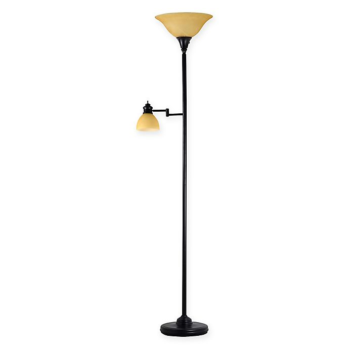 Alternate image 1 for Adesso® Julian Floor Lamp with Reading Light in Antique Bronze with Alabaster Glass Shade