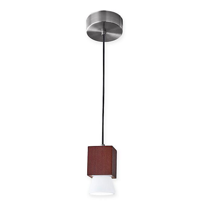 Alternate image 1 for Adesso® Burlington LED Pendant Light in Walnut with Glass Shade
