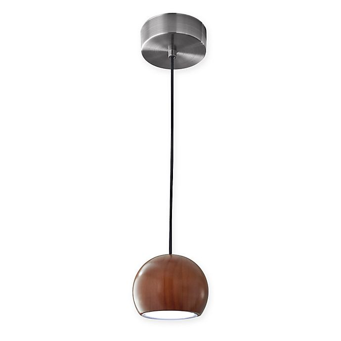 Alternate image 1 for Adesso® Cypress LED Round Pendant Light in Walnut