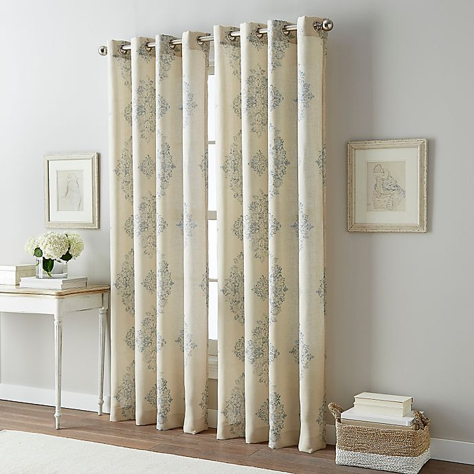 Alternate image 1 for Bailey Damask Grommet Top Window Curtain Panel