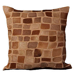 Mina Victory Natural Leather Hide Pebbles Square Throw Pillow