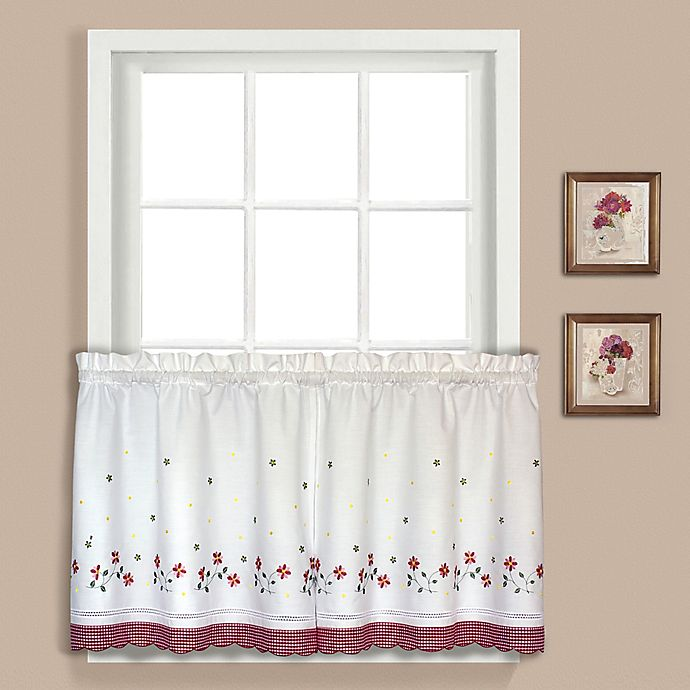 Alternate image 1 for Gingham 24-Inch Window Curtain Tier Pair in Red
