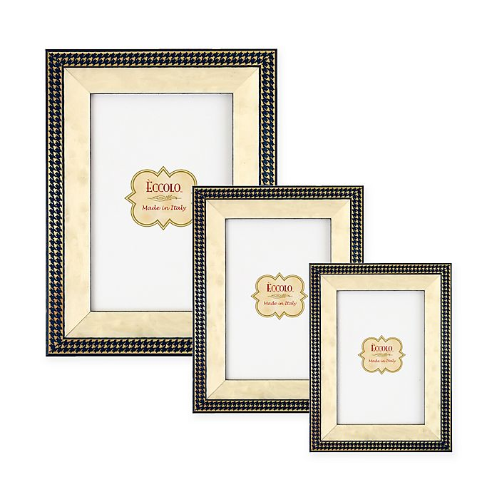Alternate image 1 for Eccolo® Gold Onlay Frame in Navy Houndstooth