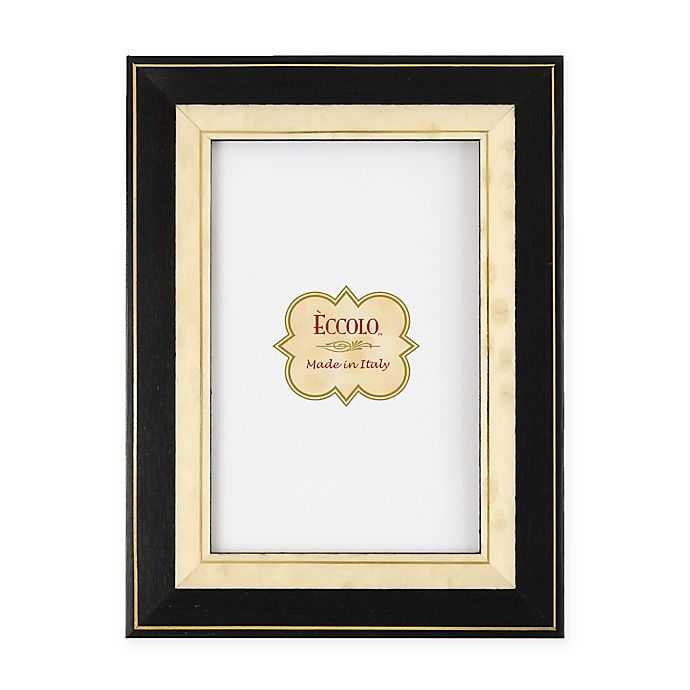 Alternate image 1 for Eccolo™ 8-Inch x 10-Inch Gold-Bordered Onlay Frame in Black