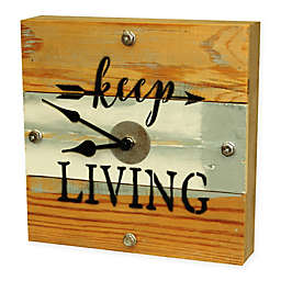 "Sweet Bird & Co. ""Keep Living"" Reclaimed Wooden Clock in Blue Whisper Finish"