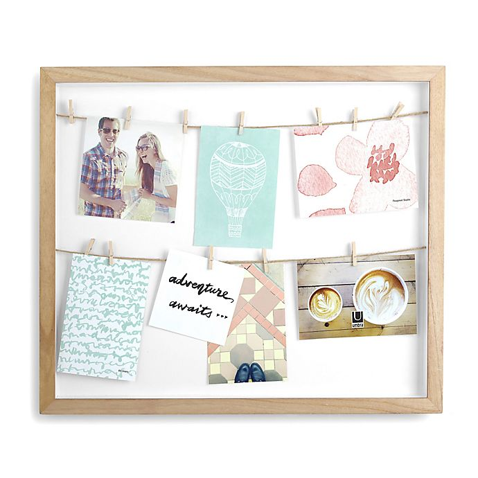 Alternate image 1 for Umbra Clothesline 8-Photo 4-Inch x 6-Inch Shadow Box Collage Wall Frame in Natural
