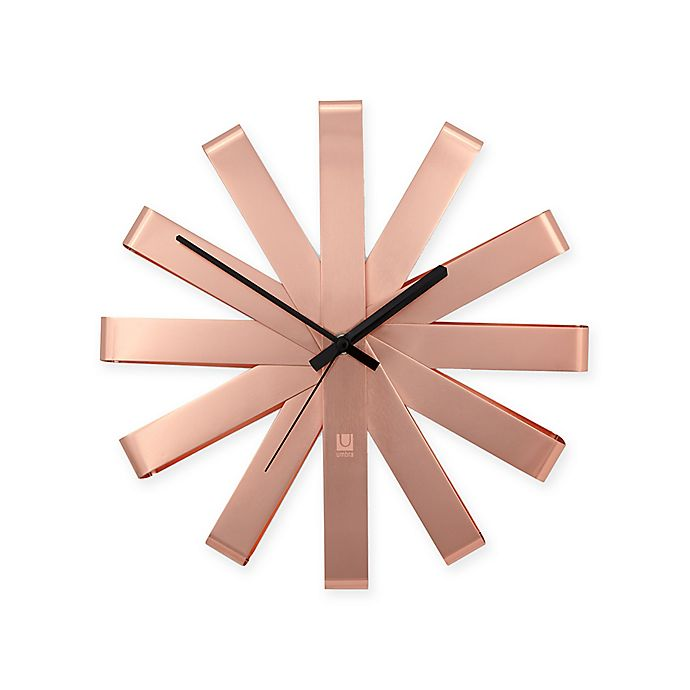 Umbra Ribbon Stainless Steel Wall Clock In Copper Bed