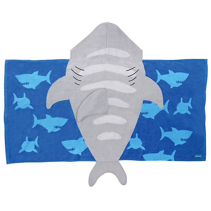 Alternate image 1 for Stephen Joseph® Shark Hooded Towel in Grey