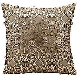 Mina Victory Saray Laser Cut Natural Leather 18-Inch Square Throw Pillow