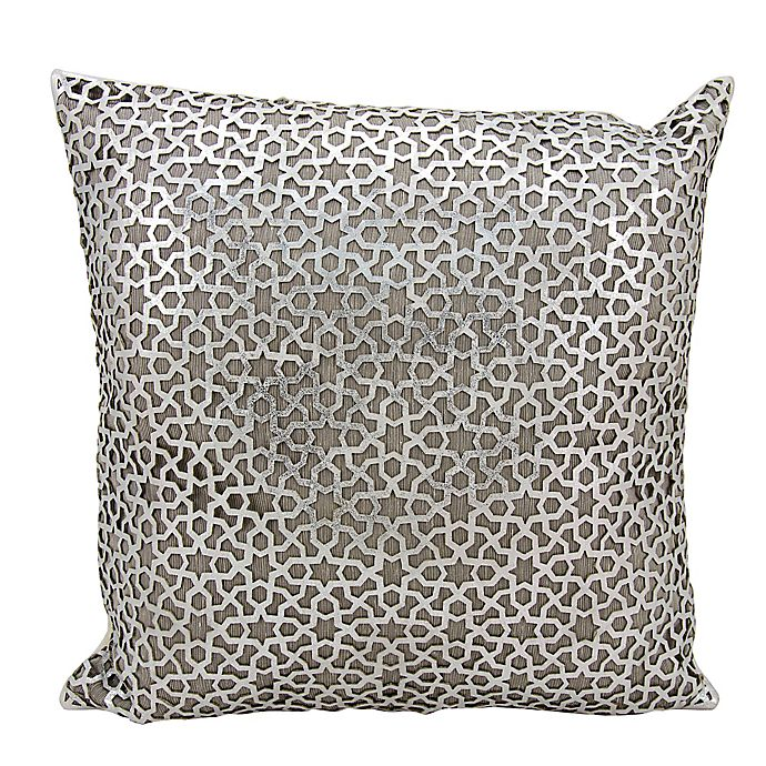 Alternate image 1 for Mini Victory Couture Arabic Geometric Leather Throw 20-Inch Pillow in Silver