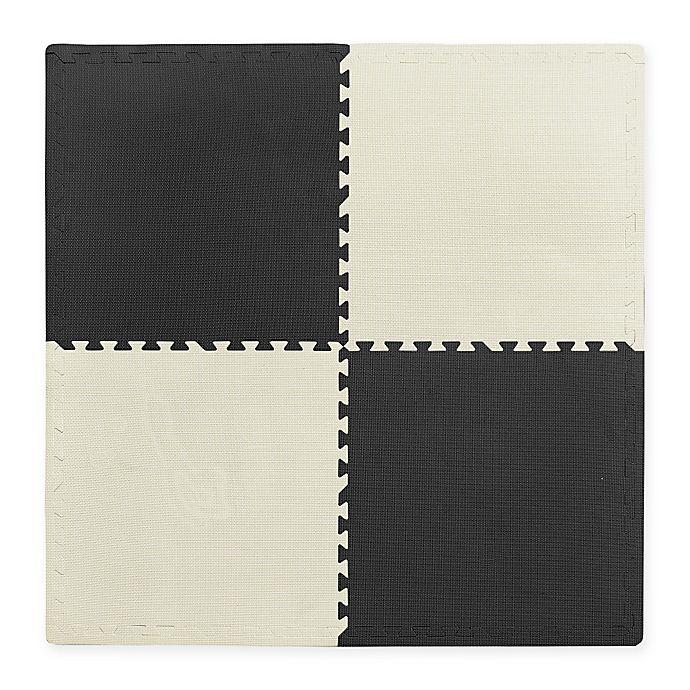 Alternate image 1 for Multipurpose 24-Inch x 24-Inch Heavy Duty 4-Piece Foam Floor Mat in Black/White