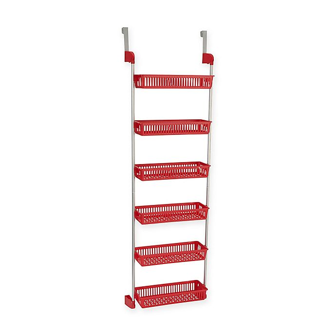 Alternate image 1 for Household Essentials® 6 Basket Over-the-Door Organizer in Red