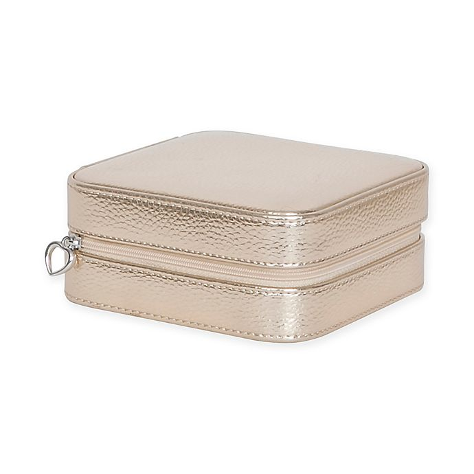 Alternate image 1 for Mele & Co. Luna Metallic Faux Leather Travel Jewelry Case in Gold