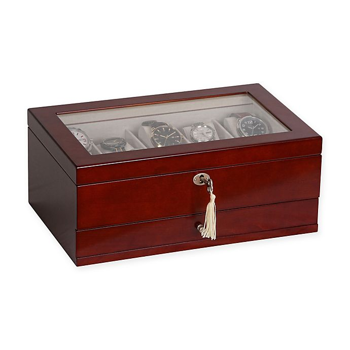 Alternate image 1 for Mele & Co. Christo Glass Top Wooden Watch Box in Walnut