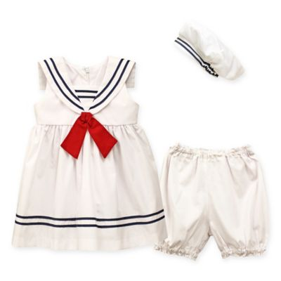 ba9fab21feb6 Jayne Copeland 3-Piece Nautical Dress with Red Tie, Diaper Cover, and Hat  Set in White | buybuy BABY
