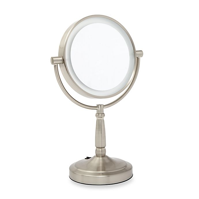 Alternate image 1 for Zadro® 1X/5X LED Vanity Mirror in Satin Nickel