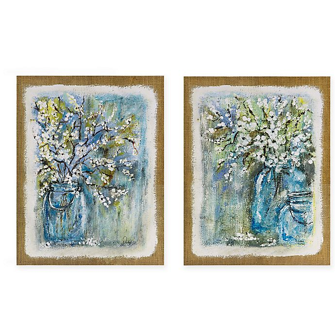 Alternate image 1 for Madison Park Burlap Blossoms Canvas Wall Art (Set of 2)