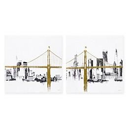 INK+IVY 2-Piece Bridge and Skyline Metallic Foil Canvas Wall Art