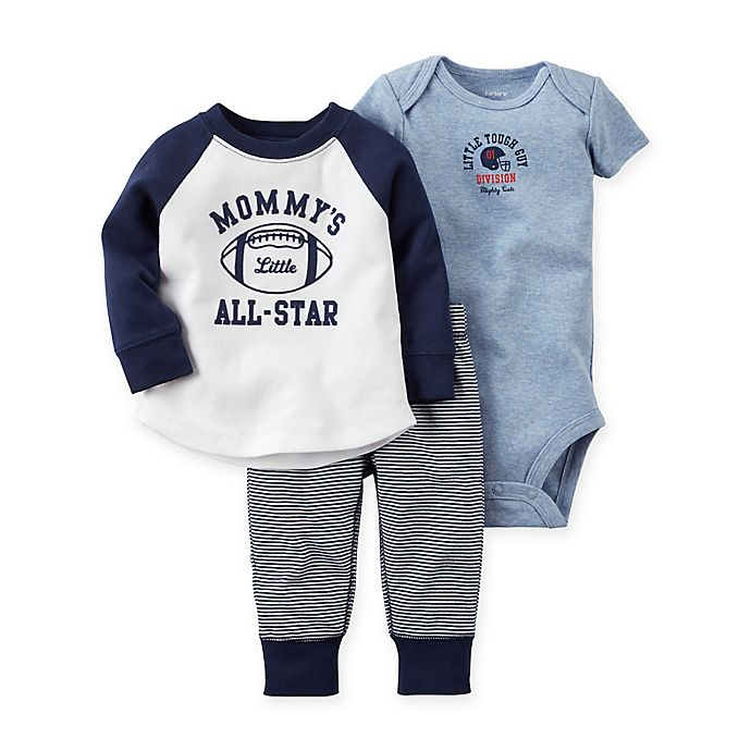 Baby Boy/'s Carters Football Themed 5 Piece Set 1 shirt /& 1 Pants 3 Bodysuits