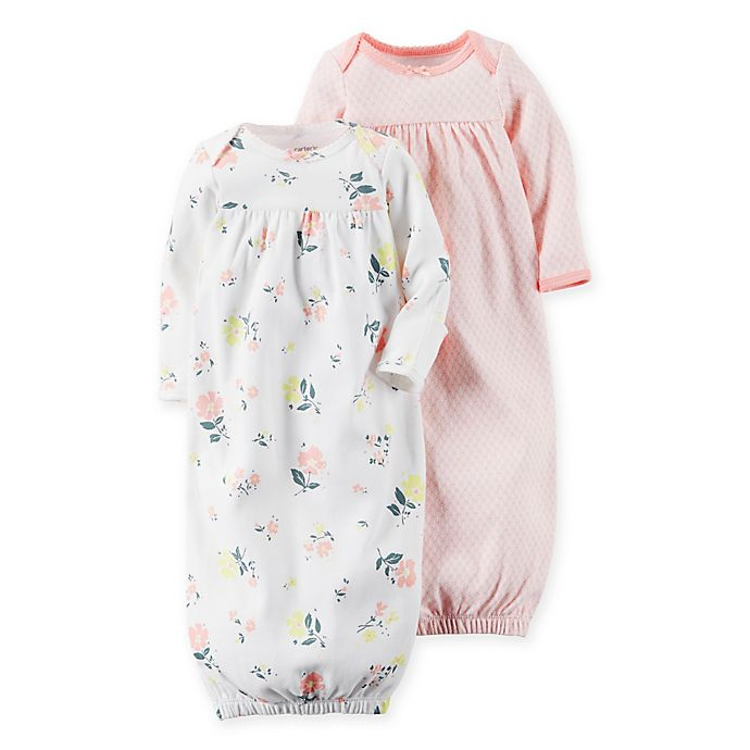Alternate image 1 for carter's® Newborn 2-Pack Babysoft Floral Sleeper Gowns